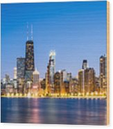 Chicago Skyline At Twilight Wood Print