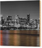 Chicago Skyline - Black And White With Color Reflection Wood Print
