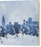 Chicago Skyline-blue 2 Wood Print