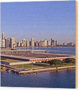Chicago Skyline, Filtration Plant Wood Print