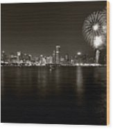 Chicago Skyline Fireworks Bw Wood Print by Steve Gadomski