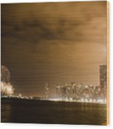 Chicago Skyline Fireworks Finale Wood Print by Anthony Doudt