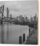 Chicago Skyline From The Southside In Black And White Wood Print