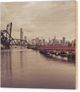 Chicago Skyline From The Southside With Red Bridge Wood Print