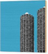 Chicago Skyline Marina Towers - Teal Wood Print