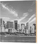 Chicago Skyline Panorama Black And White Wood Print