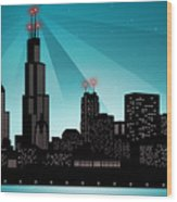 Chicago Skyline Wood Print by Sandra Hoefer