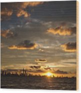 Chicago Skyline Sunset Wood Print