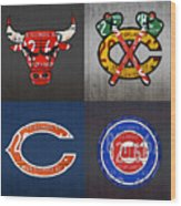 Chicago Sports Fan Recycled Vintage Illinois License Plate Art Bulls Blackhawks Bears And Cubs Wood Print