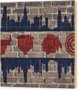 Chicago Sports Team Flag On Brick Wood Print