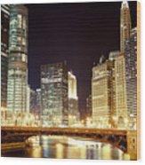 Chicago State Street Bridge At Night Wood Print