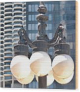 Chicago Street Lamps Wood Print