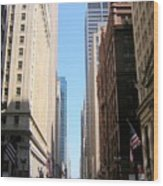 Chicago Street With Flags Wood Print