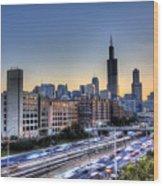 Chicago Sunrise Rush Hour Wood Print