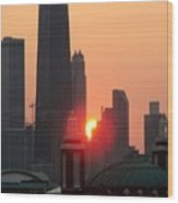 Chicago Sunset Wood Print
