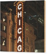 Chicago Theater At Night Wood Print