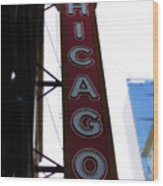 Chicago Theater Sign Wood Print