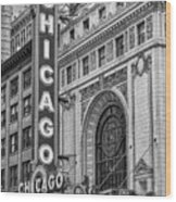 Chicago Theatre Bw Wood Print