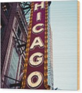 Chicago Theatre Marquee Sign Vintage Wood Print