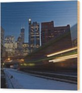 Chicago Train Blur Wood Print