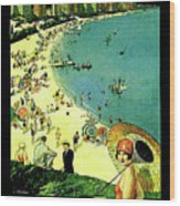 Chicago, Vacation City, Areal View On The Beach Wood Print