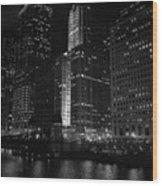 Chicago Wacker Drive Night Wood Print