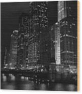 Chicago Wacker Drive Night Portrait Wood Print