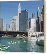 Chicago Watching The Kayaks On The River Wood Print