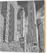 Chicago Water Tower Shopping Black And White Wood Print