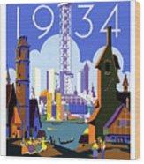 Chicago, World Fair, Vintage Travel Poster Wood Print