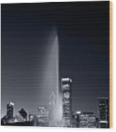 Chicagos Buckingham Fountain Bl And W Portrait Wood Print