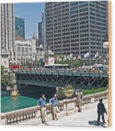 Chicago's Dusable Bridge On N. Michigan Avenue Wood Print