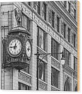 Chicago's Father Time Clock Bw Wood Print