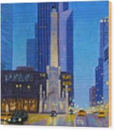 Chicago's Water Tower At Dusk Wood Print