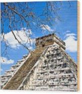 Chichen Itza And Tree Wood Print