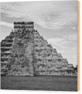 Chichen Itza B-w Wood Print