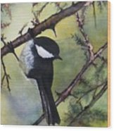 Chickadee Autumn Wood Print