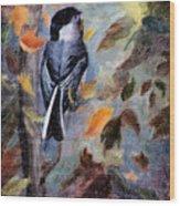 Chickadee In The Fall Wood Print
