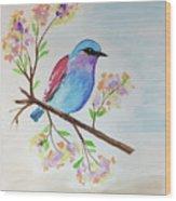 Chickadee On A Branch Wood Print