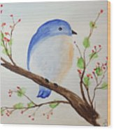 Chickadee On A Branch With Leaves Wood Print