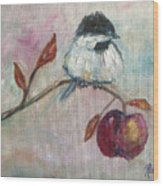 Chickadee On An Apple Tree Wood Print