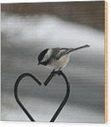 Chickadee On Heart Wood Print