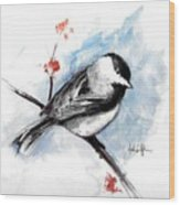 Chickadee Spring Wood Print