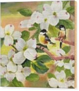 Chickadees In The Dogwood Tree Wood Print