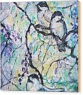 Chickadees Wood Print