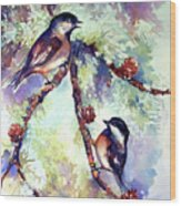 Chickadees On Twig Wood Print