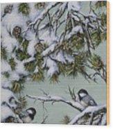 Chickadees Wood Print
