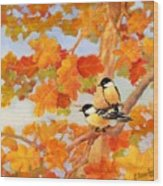 Chickadees With Oak Leaves Wood Print
