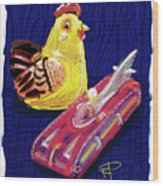 Chicken And Rocket Car Wood Print