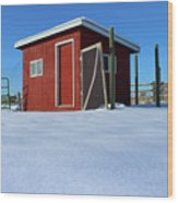 Chicken Coop In Snow Covered Field Wood Print